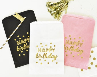 Happy Birthday goodie Bags, Birthday Candy Bar Favor Bags, Dessert Table Treat bags - Set of 12