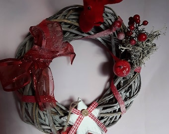wreath ornament, 24cm red nature, Wicker, berries, leaves, Star, deer bow