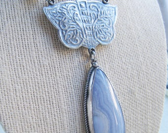Blue Lace Agate Pendant, Butterfly Pendant, White Pearl Necklace, Long Silver Necklace, Oxidized Silver, Teardrop Pendant, Nature Jewelry