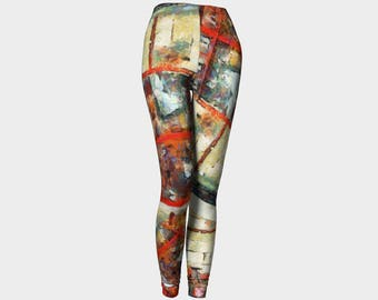 Red Leggings Workout Yoga Leggings Colorful Clothing Unisex Activewear Women's Clothes Urban Art Mother Daughter Pants Workout Gift Bicycle