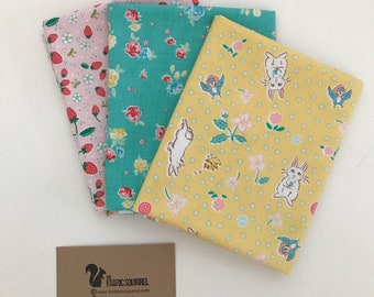 Bunnies and Blossom Riley Blake Fat Quarter Pack - Summery Fat Quarters - Quilting & Craft Quarter Metre Set - Pink, Teal and Yellow Fabric