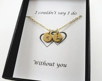 Tiny Necklace Tiny Disc Necklace Gift for Mom Bridesmaids Necklace Gift Hand Stamped Initials Gold Be my Bridesmaid Gift