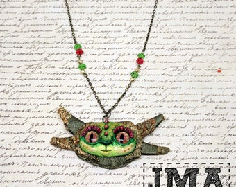 Green dragon pendant /  mixed media pendant /OOAK