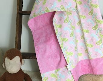 Reversible Receiving Blanket - Pink Paisley