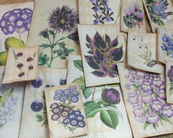 Purple Botanical Coffee-dyed Junk Journal Cards (Lot of 17 assorted sizes)