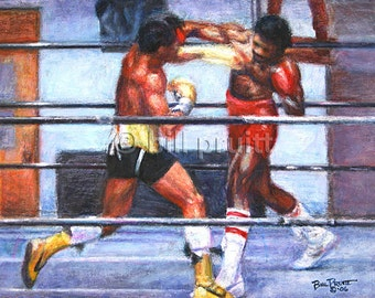 """Sylvester Stallone Rocky Balboa Apollo Creed art print 13""""x17"""" signed and dated Bill Pruitt"""