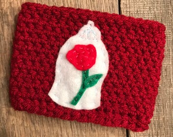 Beauty and The Beast Rose Globe Coffee Cup Cozy / Reusable Cozy / Crochet Coffee Sleeve