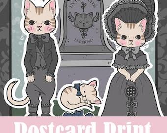 Victorian Mourning Kitties Postcard
