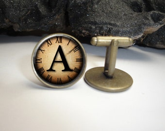 Steampunk Clock with Initial Cuff Links 20mm/Vintage Alphabet  Bronze Cufflinks for Him/Men Gift/Gift for Him