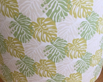 Tropical, green cheese plant lampshade - tropical botanical fern palm summer spring 70s