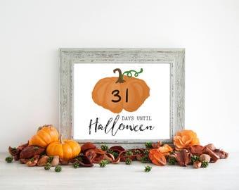 Printable Halloween Countdown - Pumpkin Decor - Happy Halloween Sign