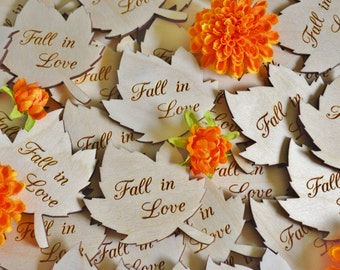 100 Personalized Leaves, Fall Wedding Favors, Wood Leaves, Wedding Favors, Personalized Favors, Fall Wedding, Autumn Wedding Favors, 3 inch