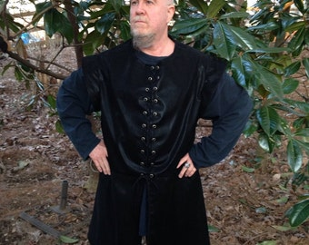 Men's Renaissance Pirate Vest Brown Tapestry Faux Suede Cosplay LARP Custom to fit uBojt2fq