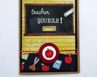 Teacher Thank You Card, Appreciation Card, Apples Card, School Blackboard, Teacher Gift, End Of Year, You Rule, Classroom Card