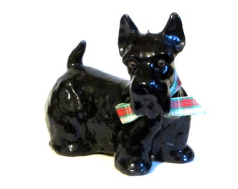 Large Black Scottie Dog Candle Figurine Scottish Terrier Quiet and Hairless