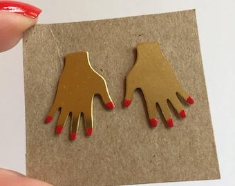 Helping hand stud earrings