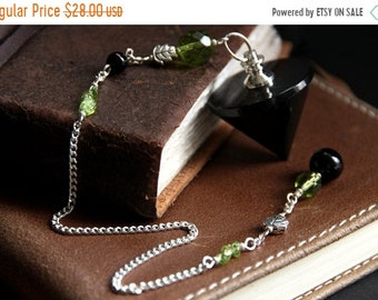 MOTHERS DAY SALE Black Onyx Pendulum. Green Crystal Pendulum. Divination Dowsing Pendulum. Scrying Spirituality Tool. New Age Metaphysical H