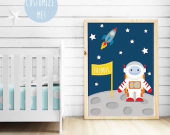 Space Astronaut Name Nursery Print, Customize your own.