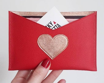 Pink red/gold leather pouch for storing papers