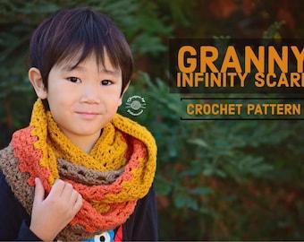Crochet Granny Infinity Scarf PATTERN   Crochet Pattern   Crochet Pattern   Crochet Scarf   Infinity Scarf   Instant Download Pattern