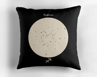 SAGITTARIUS Astrological Constellation Throw Pillow, Minimalist Zodiac Art, Home Decor