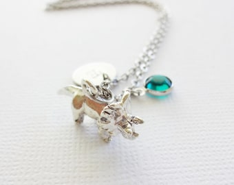 Dinosaur Initial Necklace Triceratops 3D Charm Prehistoric Jewelry Swarovski Birthstone Silver Pewter Personalized Monogram Hand Stamped