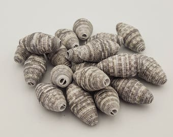 Gray White | Paper beads | Paper Bead Jewelry | Recycled Upcycled | Loose Paper Beads | Jewelry Supplies | Beading Supplies | Bicone