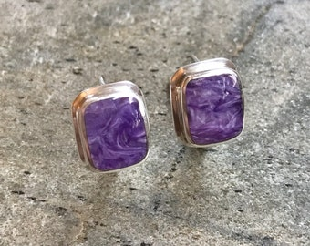 Charoite Earrings, Natural Charoite, Scorpio Earrings, Scorpio Birthstone, Healing Stones, Square Earrings, Purple Earrings, Charoite, 925