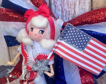 July 4th ornament America USA vintage atomic retro inspired 4th of July art doll blonde doll Independence Day decor