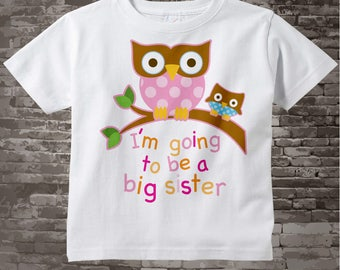 Big Sister Shirt I'm going to Be a Big Sister Owl Tee Shirt with little blue owl or Big Sister Onesie Pregnancy Announcement 01102012a