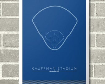 "Kansas City Royals Kauffman Stadium Infield 11"" x 17"" Minimal Print Baseball Poster"