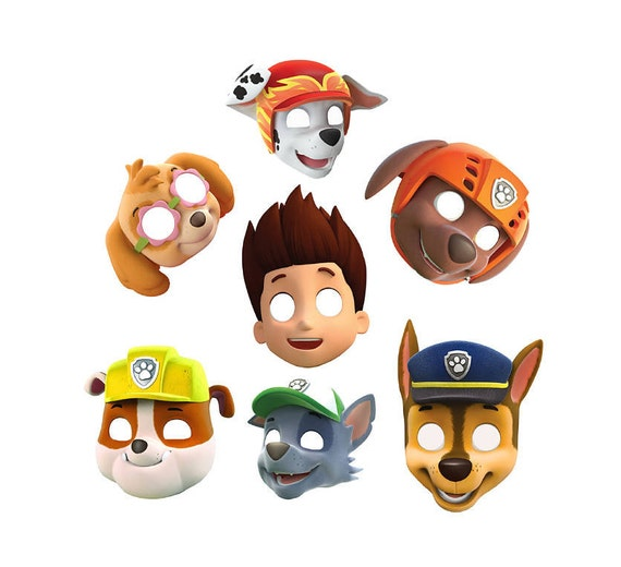Playful image within paw patrol printable masks