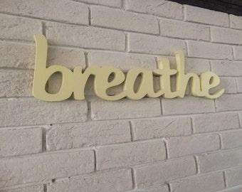 yoga studio decor BREATHE sign yoga pilates wall decor  wall art gift - yoga sign gift for her, om, namste