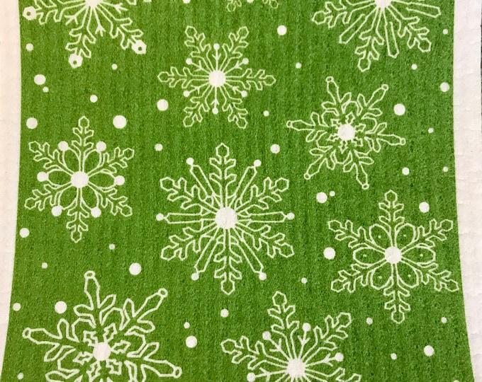 Green Snowflake Swedish Cloth