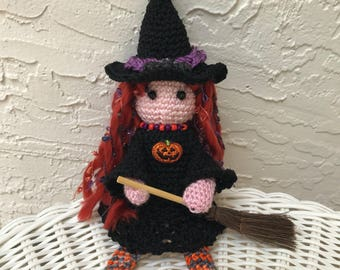 Halloween Crochet witch doll Tilda decor amigurumi doll halloween decor stuffed doll witch art doll toy plush red headed doll witch hat