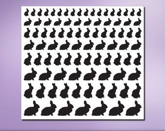 Bunny Rabbit Silhouettes, Peel and Stick Mini Vinyl Stickers, Animal Removable Wall Decals, Easter Decorations, Craft Supply (0173a48v-r3c)