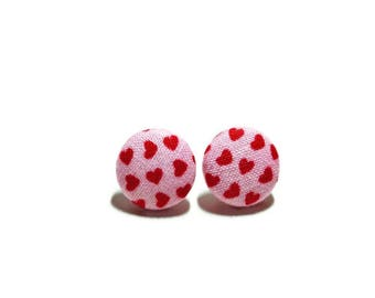Heart Earrings, Button Post Earrings, Small Fabric Studs, Cover Button Jewelry, Nickel-free Earrings, Titanium, Pink & Red, Valentine's Day