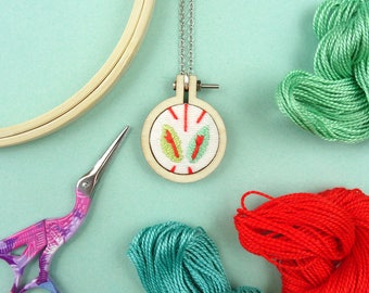 HAND EMBROIDERED PENDANT, red leaves, mini hoop