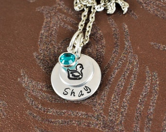 Little Girl Necklace, Little Boy Necklace, Rubber Ducky, Children's Jewelry, Name Necklace, Birthstone Necklace