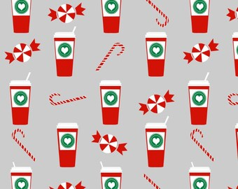 1/2 Yard - Pre-Packaged - SPOONFLOWER Peppermint Latte Candy Cane - Designer: Charlottewinter