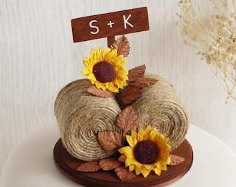 Hay Bale Sunflower Cake Topper - Sunflower Cake Topper - Sunflower Wedding Cake Topper - Rustic Wedding Cake Topper - Sunflower Wedding
