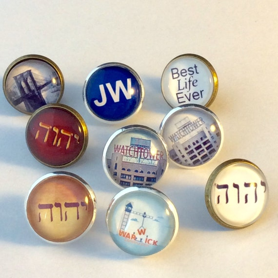 JW Tie Tack. Tetragrammaton, Watchtower Sign, Warwick, Best Life Ever.    Antique Brass or Silver tone Finish. Blue Velvet Gift Bag!