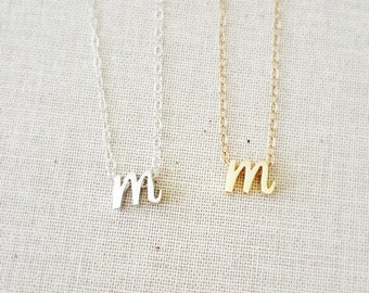 """Tiny Gold Cursive Initial """"M"""" Necklace, Silver Cursive Initial M Necklace, Letter Necklace, Lowercase Script Necklace, 14Kt Gold Filled"""