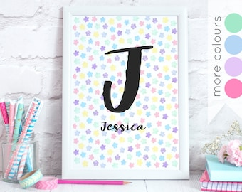Personalised Floral Print - Water colour Flower Pattern - Custom Name & Initial - Alphabet Wall Art