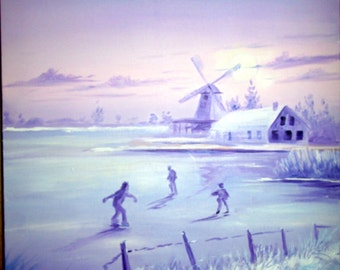 Mill in winter and skaters