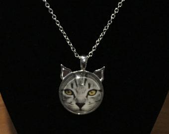 Silver Tabby cat pendant