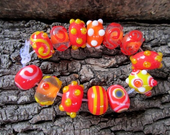 13 Orange Assorted glass beads handmade Lampwork  beads diy jewelry making bumpy beads (SB2)