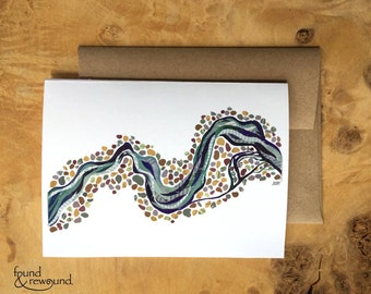 Abstract Art Card - Repurposed Paper Collage of River Meandering Among River Rocks