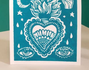 Milagro of Creativity linocut print in turquoise by Corazon Quebrado