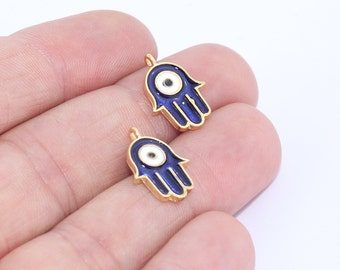Evil Eye Hamsa, 24k Gold Plated Hamsa, Evil Eye Hamsa, Hamsa Charms, Bracelet Pendant, Hamsa Connector, 8x13mm ,  MTE376